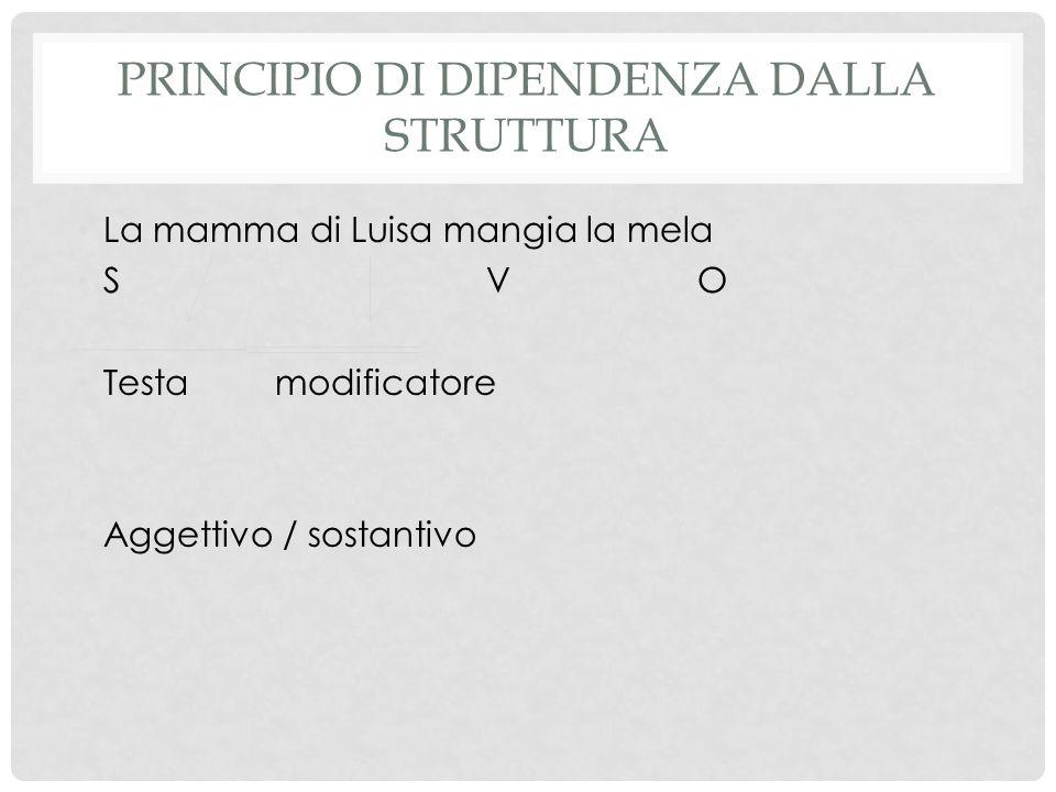 PRINCIPIO DI DIPENDENZA DALLA STRUTTURA La mamma di Luisa mangia la mela SVO Testamodificatore Aggettivo / sostantivo