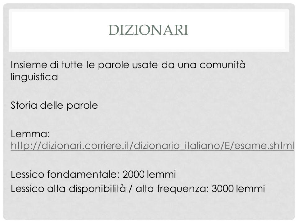 DIZIONARI Insieme di tutte le parole usate da una comunità linguistica Storia delle parole Lemma: http://dizionari.corriere.it/dizionario_italiano/E/e