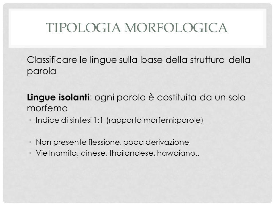 TIPOLOGIA MORFOLOGICA Classificare le lingue sulla base della struttura della parola Lingue isolanti : ogni parola è costituita da un solo morfema Ind