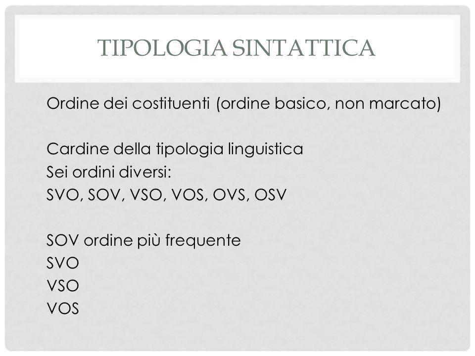 TIPOLOGIA SINTATTICA Ordine dei costituenti (ordine basico, non marcato) Cardine della tipologia linguistica Sei ordini diversi: SVO, SOV, VSO, VOS, OVS, OSV SOV ordine più frequente SVO VSO VOS