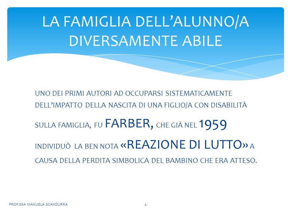 LA SALUTE DEL/LA FIGLIO/A; COME VIENE FORNITA L' ASSISTENZA QUOTIDIANA AL/LA FIGLIO/A; EVENTUALE AGGRAVIO ECONOMICO; COME VENGONO RECUPERATE LE ENERGIE DELLA FAMIGLIA NEL TEMPO LIBERO; PROF.SSA MANUELA SCANDURRA13 LA SCUOLA DEVE CONOSCERE LE SITUAZIONI FAMILIARI RELATIVE A: