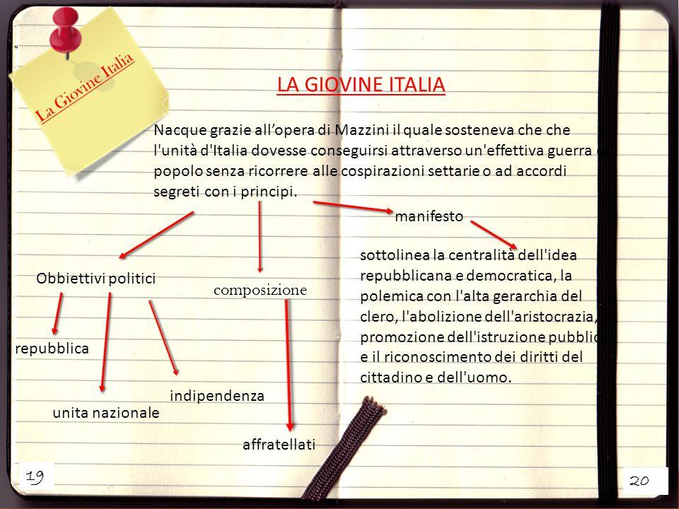 19 20 La Giovine Italia LA GIOVINE ITALIA Nacque grazie all'opera di Mazzini il quale sosteneva che che l unità d Italia dovesse conseguirsi attraverso un effettiva guerra di popolo senza ricorrere alle cospirazioni settarie o ad accordi segreti con i principi.