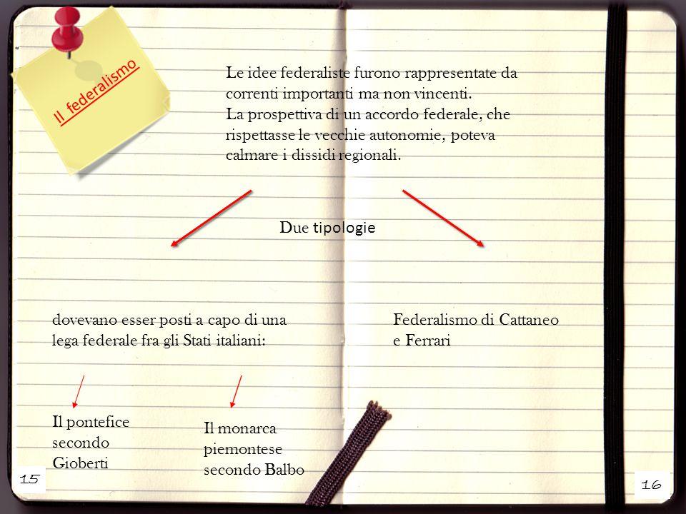 15 16 Il federalismo Le idee federaliste furono rappresentate da correnti importanti ma non vincenti. La prospettiva di un accordo federale, che rispe