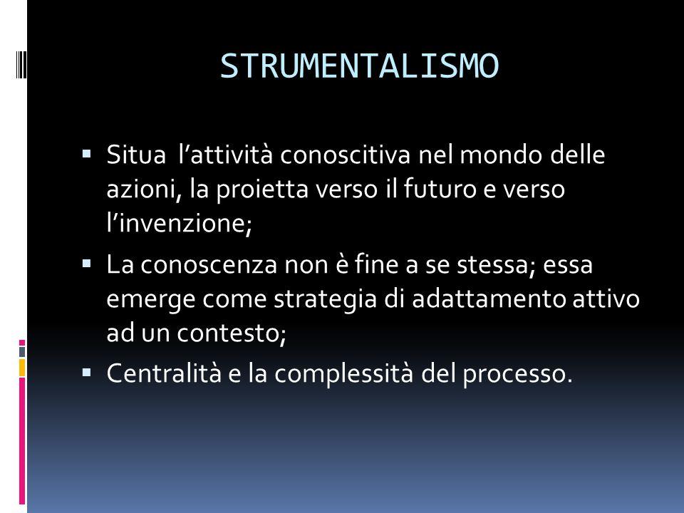 STRUMENTALISMO  Situa l'attività conoscitiva nel mondo delle azioni, la proietta verso il futuro e verso l'invenzione;  La conoscenza non è fine a se stessa; essa emerge come strategia di adattamento attivo ad un contesto;  Centralità e la complessità del processo.
