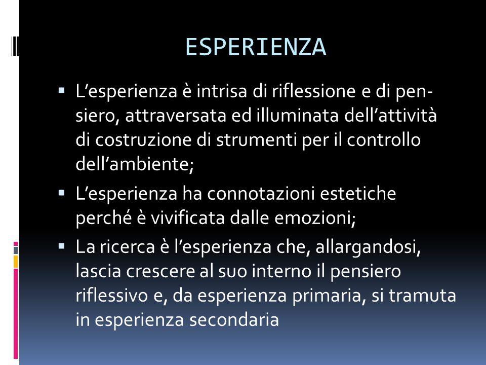ESPERIENZA  L'esperienza è intrisa di riflessione e di pen- siero, attraversata ed illuminata dell'attività di costruzione di strumenti per il controllo dell'ambiente;  L'esperienza ha connotazioni estetiche perché è vivificata dalle emozioni;  La ricerca è l'esperienza che, allargandosi, lascia crescere al suo interno il pensiero riflessivo e, da esperienza primaria, si tramuta in esperienza secondaria