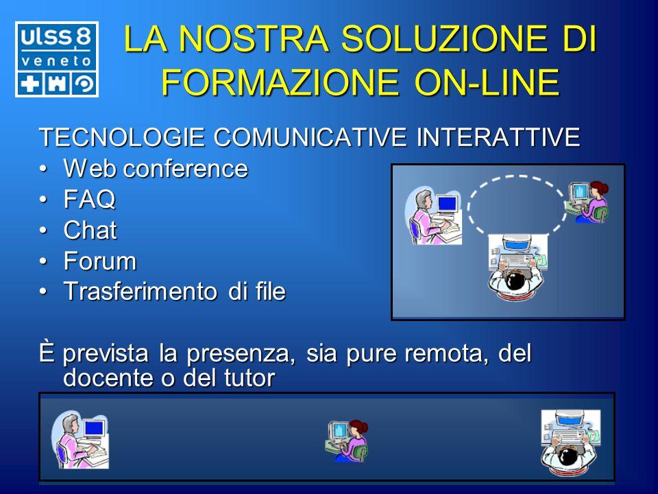 LA NOSTRA SOLUZIONE DI FORMAZIONE ON-LINE TECNOLOGIE COMUNICATIVE INTERATTIVE Web conferenceWeb conference FAQFAQ ChatChat ForumForum Trasferimento di