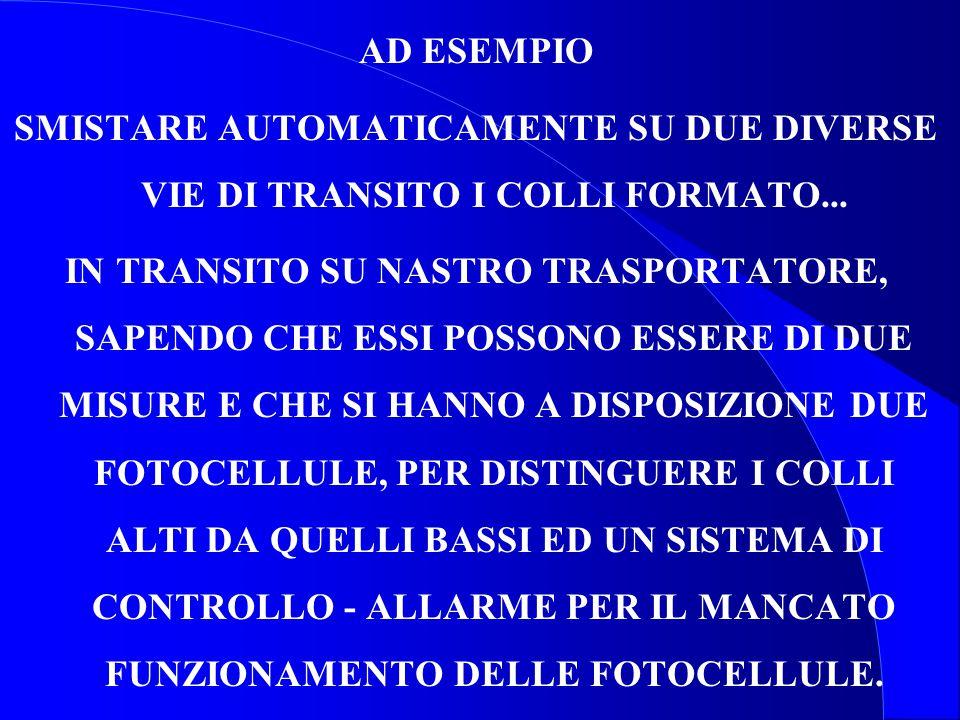AD ESEMPIO SMISTARE AUTOMATICAMENTE SU DUE DIVERSE VIE DI TRANSITO I COLLI FORMATO...