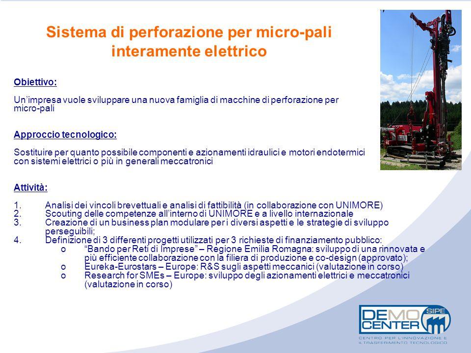 Sistema di perforazione per micro-pali interamente elettrico Obiettivo: Un'impresa vuole sviluppare una nuova famiglia di macchine di perforazione per