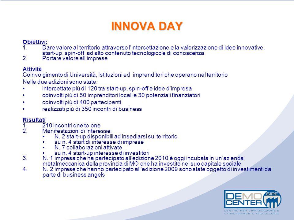 INNOVA DAY Obiettivi: 1.Dare valore al territorio attraverso l'intercettazione e la valorizzazione di idee innovative, start-up, spin-off ad alto cont