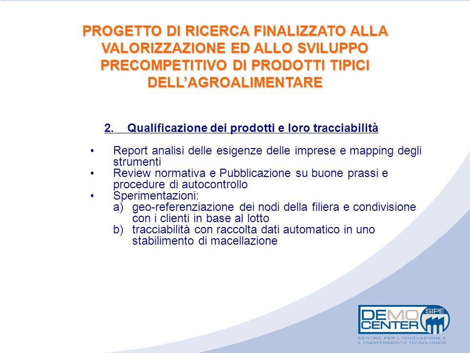 2. Qualificazione dei prodotti e loro tracciabilità Report analisi delle esigenze delle imprese e mapping degli strumenti Review normativa e Pubblicaz