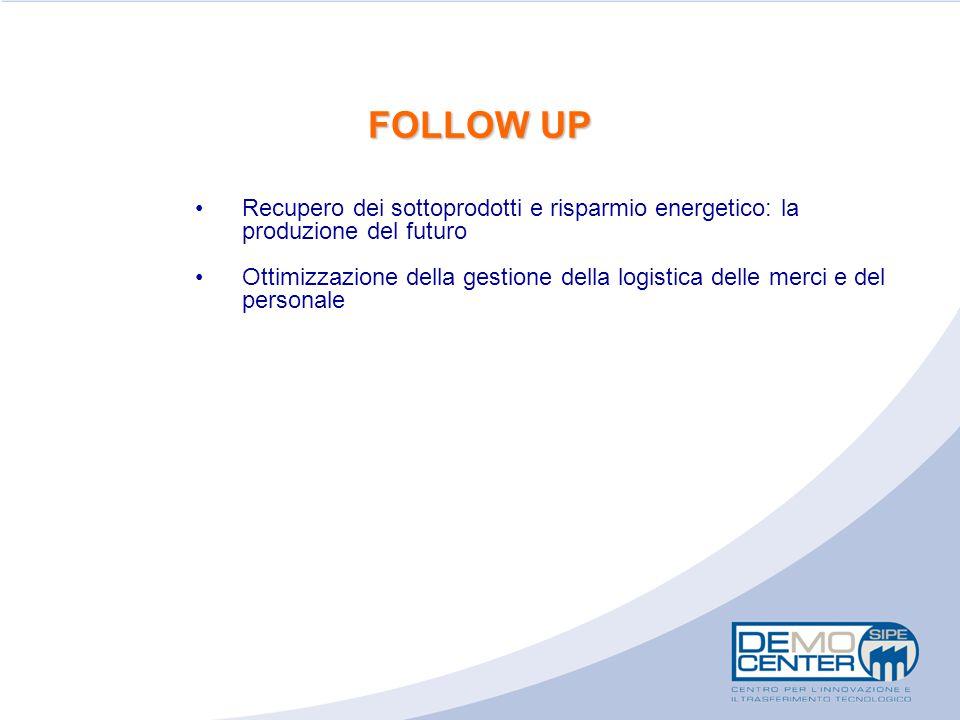 FOLLOW UP Recupero dei sottoprodotti e risparmio energetico: la produzione del futuro Ottimizzazione della gestione della logistica delle merci e del