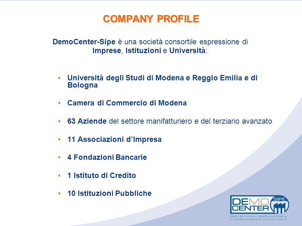 COMPANY PROFILE DemoCenter-Sipe è una società consortile espressione di Imprese, Istituzioni e Università: Università degli Studi di Modena e Reggio E