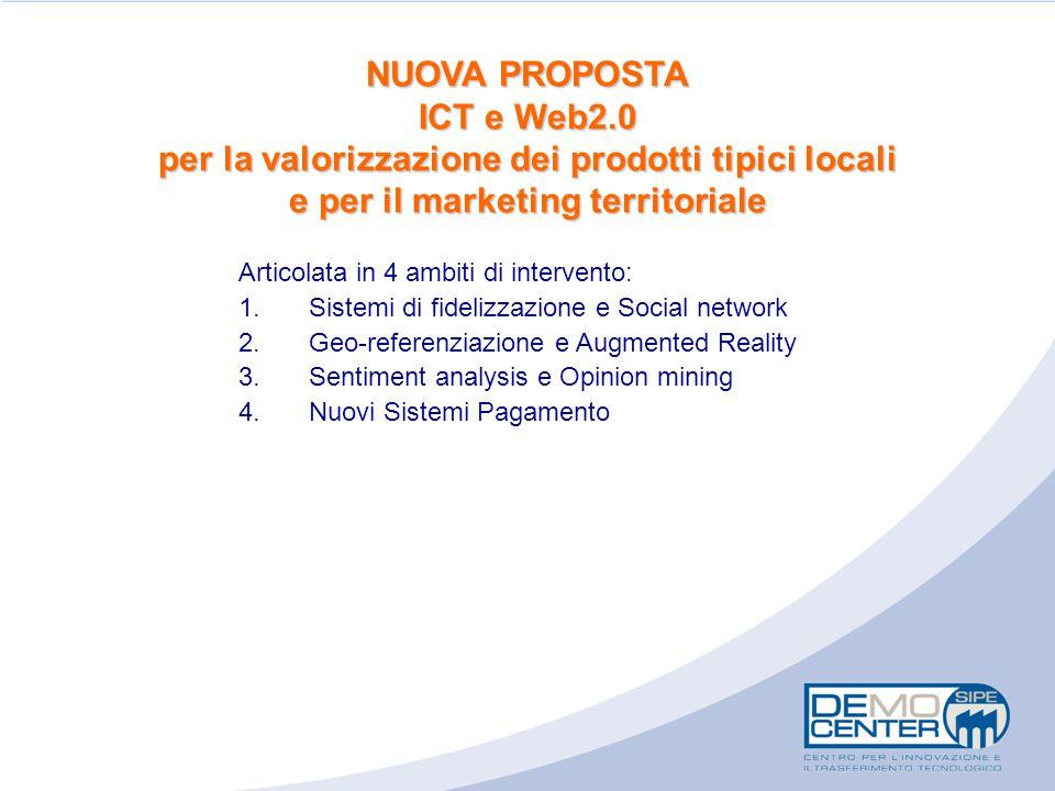 NUOVA PROPOSTA ICT e Web2.0 per la valorizzazione dei prodotti tipici locali e per il marketing territoriale Articolata in 4 ambiti di intervento: 1.S