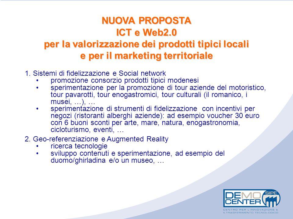 NUOVA PROPOSTA ICT e Web2.0 per la valorizzazione dei prodotti tipici locali e per il marketing territoriale 1. Sistemi di fidelizzazione e Social net