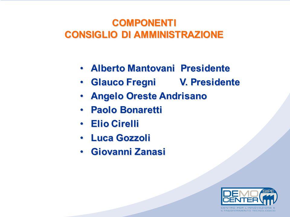 COMPONENTI CONSIGLIO DI AMMINISTRAZIONE Alberto Mantovani PresidenteAlberto Mantovani Presidente Glauco Fregni V. PresidenteGlauco Fregni V. President