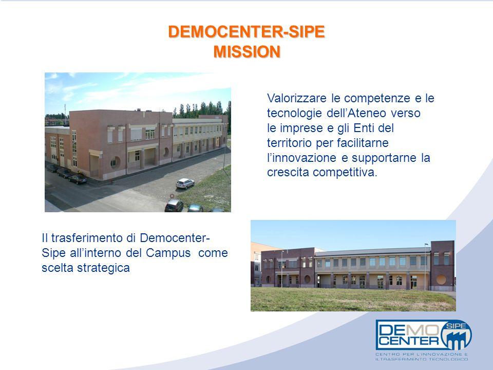 DEMOCENTER-SIPE MISSION Il trasferimento di Democenter- Sipe all'interno del Campus come scelta strategica Valorizzare le competenze e le tecnologie dell'Ateneo verso le imprese e gli Enti del territorio per facilitarne l'innovazione e supportarne la crescita competitiva.