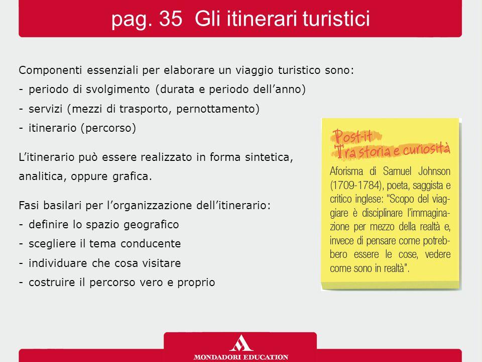 Componenti essenziali per elaborare un viaggio turistico sono: -periodo di svolgimento (durata e periodo dell'anno) -servizi (mezzi di trasporto, pern
