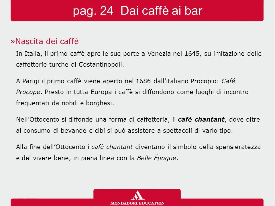 »Nascita dei caffè In Italia, il primo caffè apre le sue porte a Venezia nel 1645, su imitazione delle caffetterie turche di Costantinopoli. A Parigi