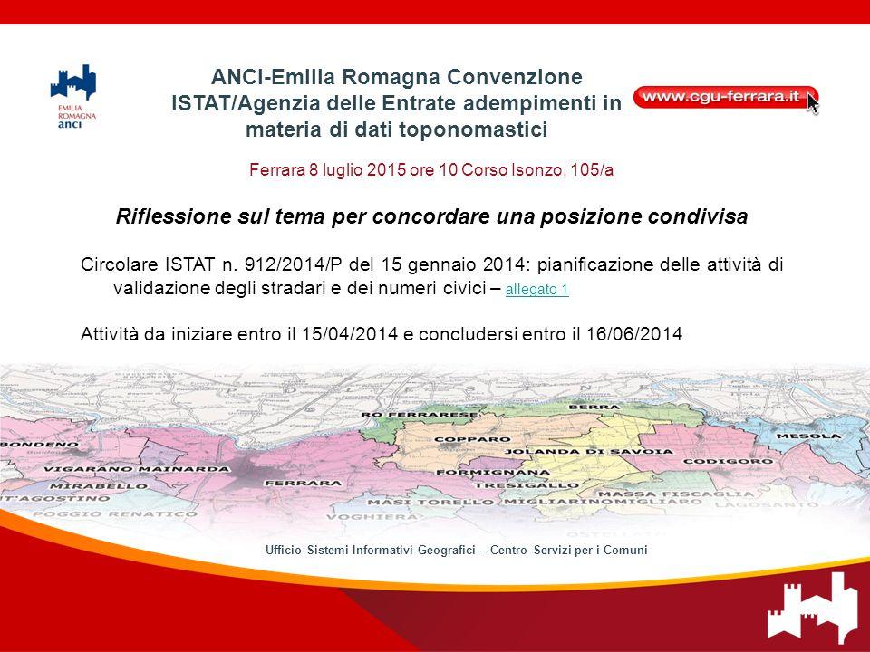Ferrara 8 luglio 2015 ore 10 Corso Isonzo, 105/a Riflessione sul tema per concordare una posizione condivisa Circolare ISTAT n.