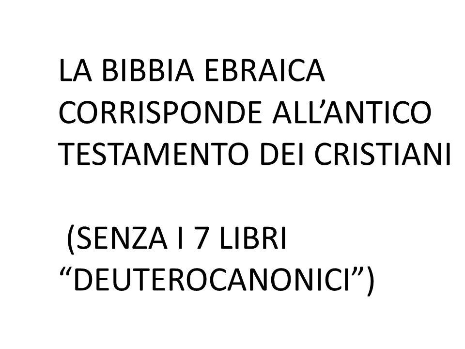 LA BIBBIA EBRAICA CORRISPONDE ALL'ANTICO TESTAMENTO DEI CRISTIANI (SENZA I 7 LIBRI DEUTEROCANONICI )