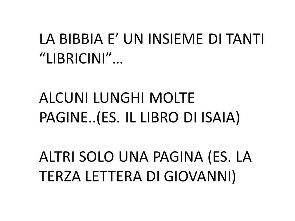 LA BIBBIA E' UN INSIEME DI TANTI LIBRICINI … ALCUNI LUNGHI MOLTE PAGINE..(ES.