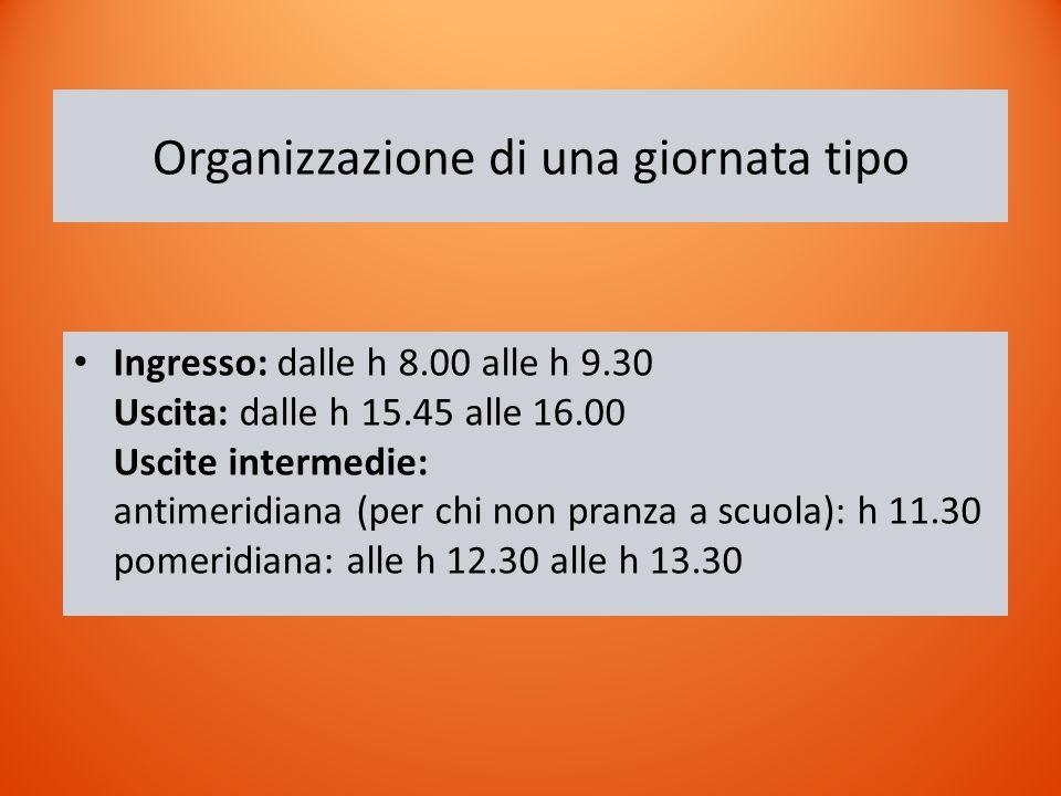 Organizzazione di una giornata tipo Ingresso: dalle h 8.00 alle h 9.30 Uscita: dalle h 15.45 alle 16.00 Uscite intermedie: antimeridiana (per chi non pranza a scuola): h 11.30 pomeridiana: alle h 12.30 alle h 13.30