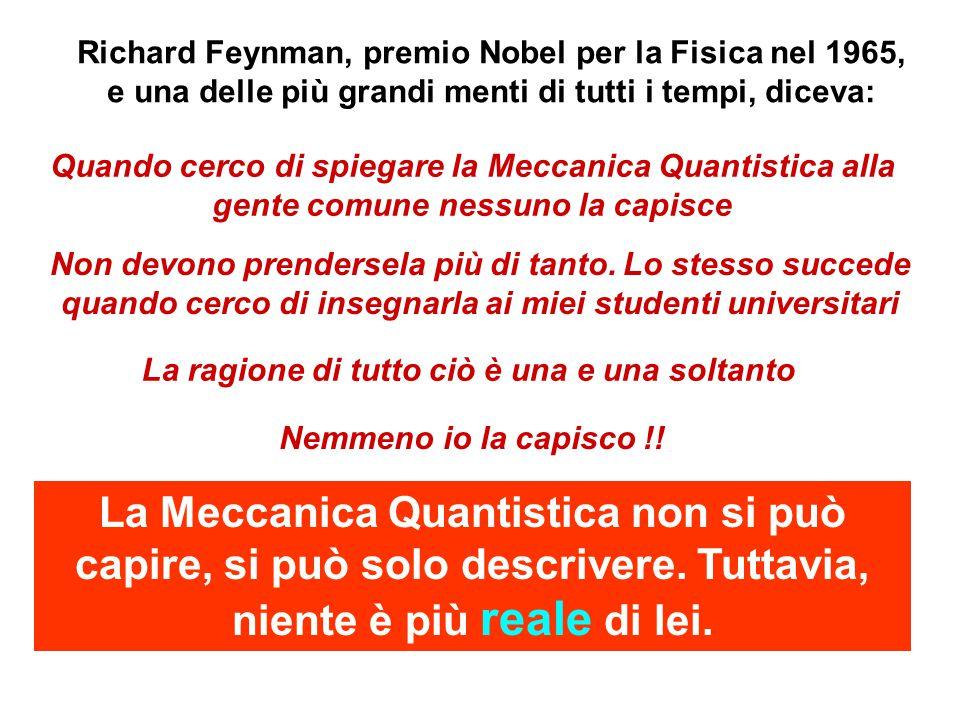 Richard Feynman, premio Nobel per la Fisica nel 1965, e una delle più grandi menti di tutti i tempi, diceva: Quando cerco di spiegare la Meccanica Quantistica alla gente comune nessuno la capisce Non devono prendersela più di tanto.