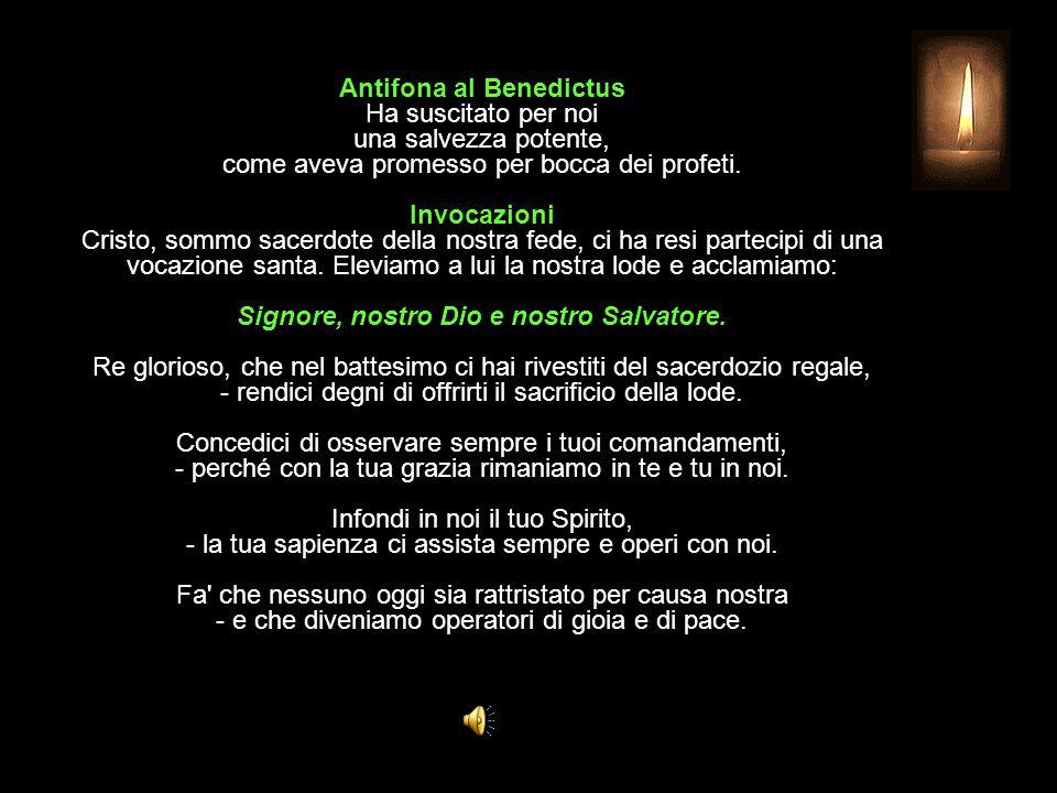Antifona al Benedictus Ha suscitato per noi una salvezza potente, come aveva promesso per bocca dei profeti.