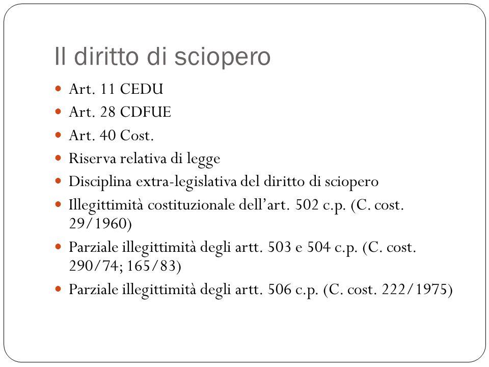 Il diritto di sciopero Art. 11 CEDU Art. 28 CDFUE Art. 40 Cost. Riserva relativa di legge Disciplina extra-legislativa del diritto di sciopero Illegit