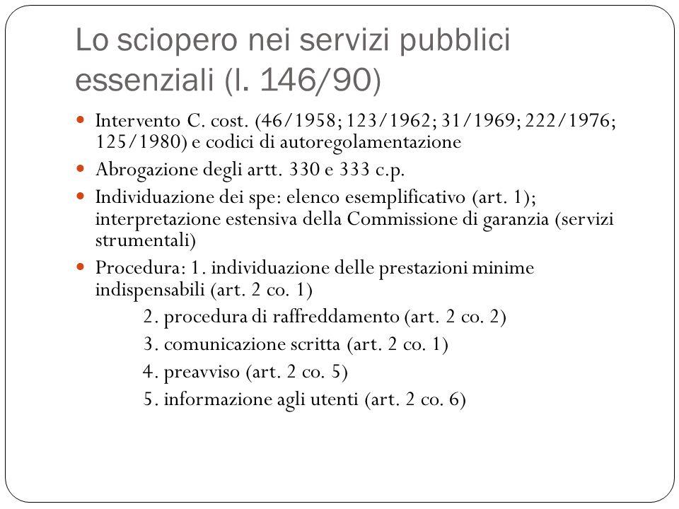 Lo sciopero nei servizi pubblici essenziali (l. 146/90) Intervento C. cost. (46/1958; 123/1962; 31/1969; 222/1976; 125/1980) e codici di autoregolamen