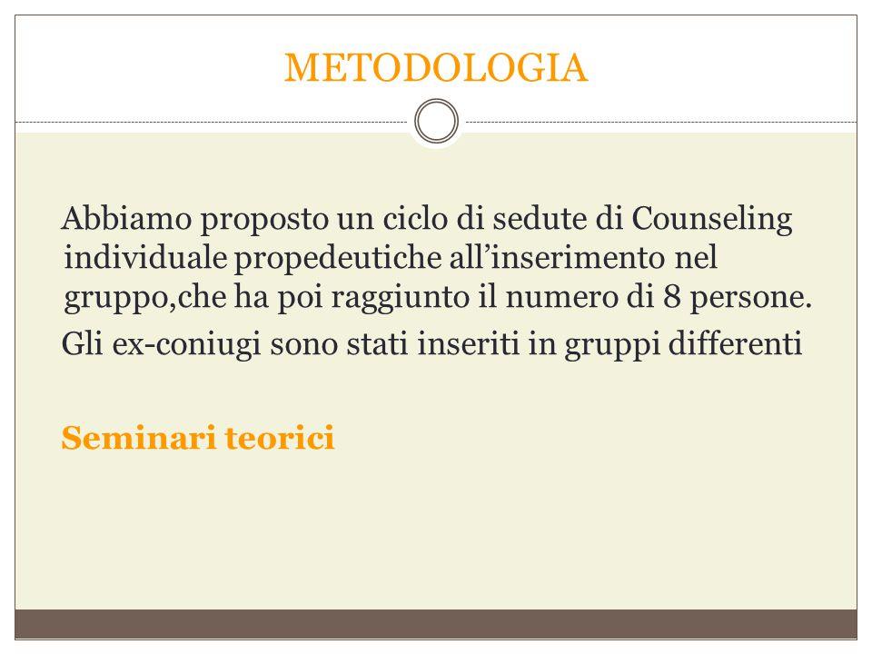 METODOLOGIA Abbiamo proposto un ciclo di sedute di Counseling individuale propedeutiche all'inserimento nel gruppo,che ha poi raggiunto il numero di 8