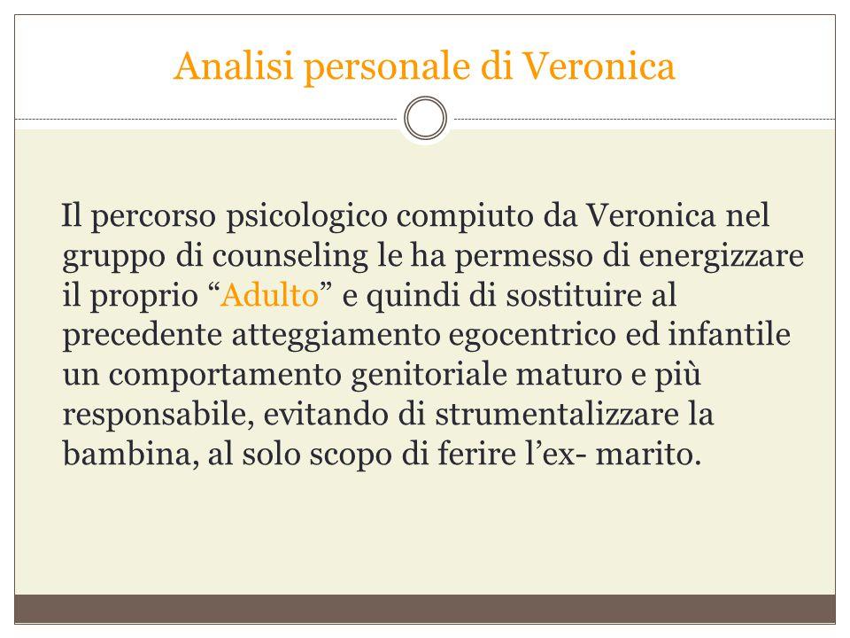 """Analisi personale di Veronica Il percorso psicologico compiuto da Veronica nel gruppo di counseling le ha permesso di energizzare il proprio """"Adulto"""""""