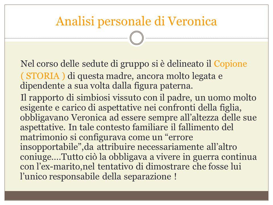 Analisi personale di Veronica Nel corso delle sedute di gruppo si è delineato il Copione ( STORIA ) di questa madre, ancora molto legata e dipendente