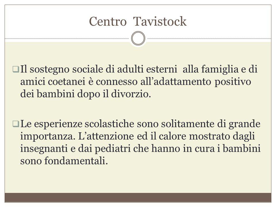 Centro Tavistock  Il sostegno sociale di adulti esterni alla famiglia e di amici coetanei è connesso all'adattamento positivo dei bambini dopo il div