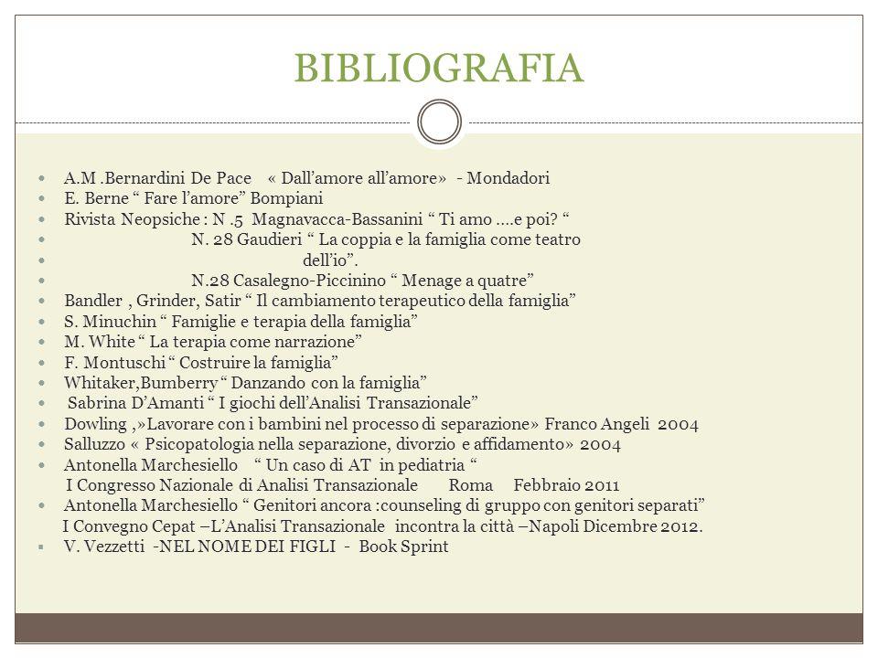 """BIBLIOGRAFIA A.M.Bernardini De Pace « Dall'amore all'amore» - Mondadori E. Berne """" Fare l'amore"""" Bompiani Rivista Neopsiche : N.5 Magnavacca-Bassanini"""