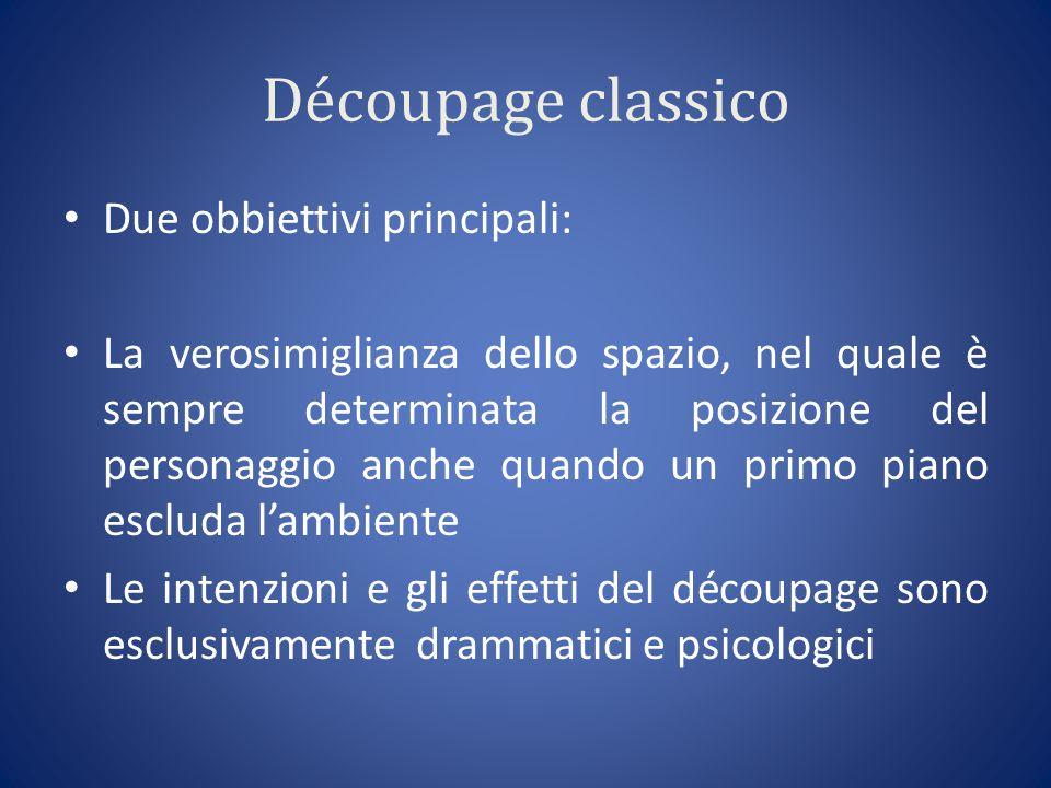 Découpage classico Due obbiettivi principali: La verosimiglianza dello spazio, nel quale è sempre determinata la posizione del personaggio anche quand