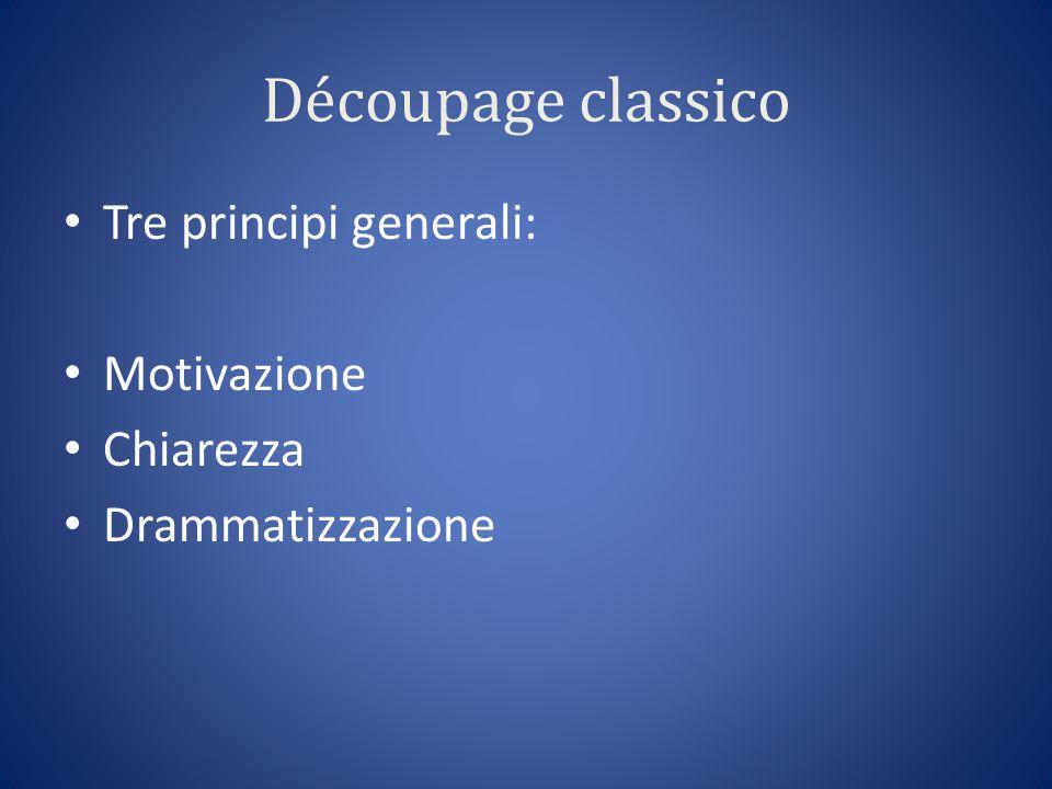 Découpage classico Tre principi generali: Motivazione Chiarezza Drammatizzazione