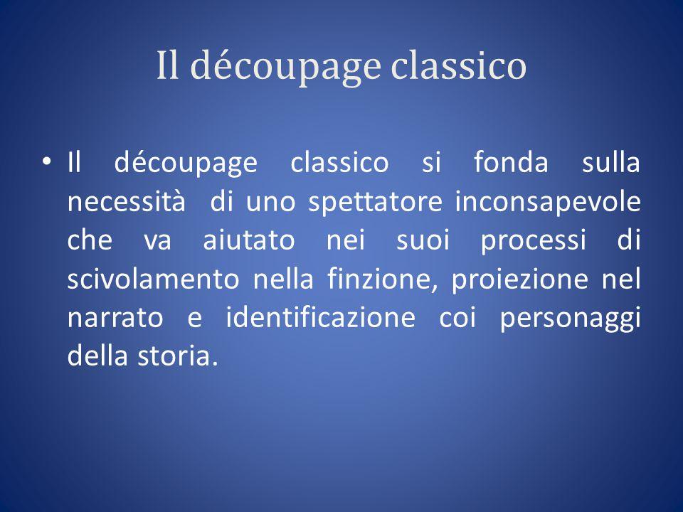 Il découpage classico Il découpage classico si fonda sulla necessità di uno spettatore inconsapevole che va aiutato nei suoi processi di scivolamento nella finzione, proiezione nel narrato e identificazione coi personaggi della storia.