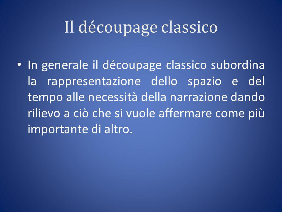 Il découpage classico In generale il découpage classico subordina la rappresentazione dello spazio e del tempo alle necessità della narrazione dando rilievo a ciò che si vuole affermare come più importante di altro.
