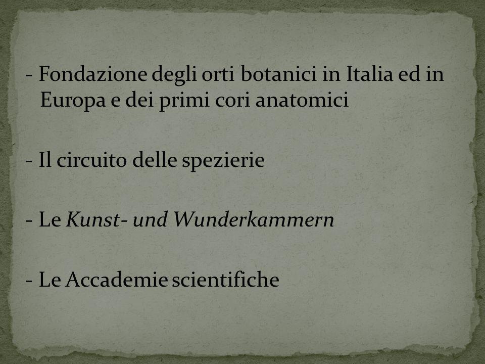 - Fondazione degli orti botanici in Italia ed in Europa e dei primi cori anatomici - Il circuito delle spezierie - Le Kunst- und Wunderkammern - Le Accademie scientifiche