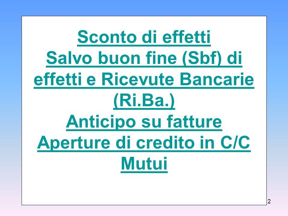 Sconto di effetti Salvo buon fine (Sbf) di effetti e Ricevute Bancarie (Ri.Ba.) Anticipo su fatture Aperture di credito in C/C Mutui 2