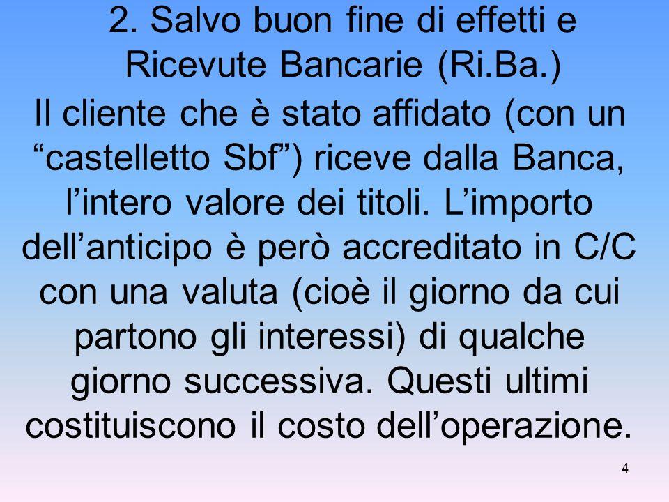 """2. Salvo buon fine di effetti e Ricevute Bancarie (Ri.Ba.) Il cliente che è stato affidato (con un """"castelletto Sbf"""") riceve dalla Banca, l'intero val"""