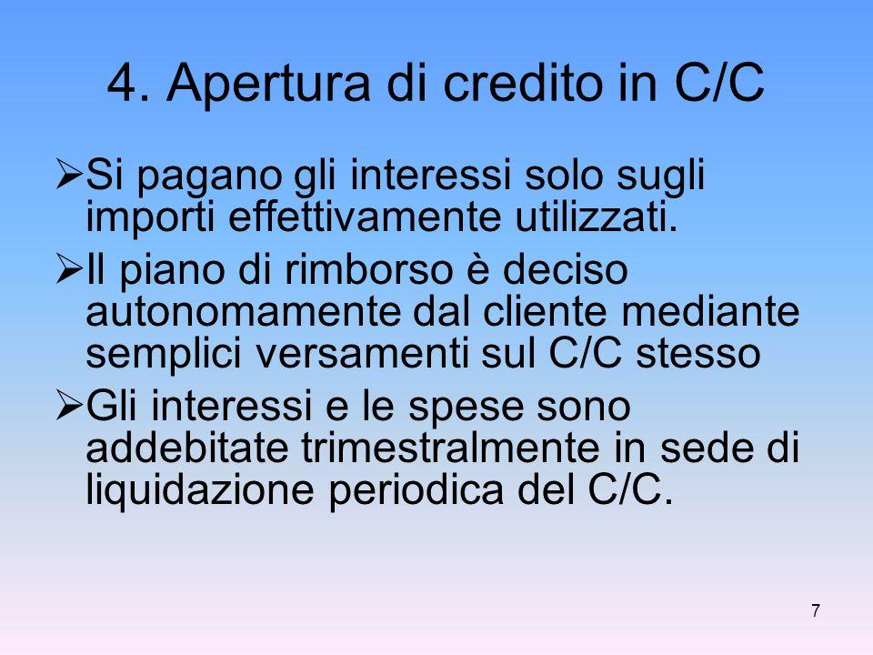 4. Apertura di credito in C/C  Si pagano gli interessi solo sugli importi effettivamente utilizzati.  Il piano di rimborso è deciso autonomamente da