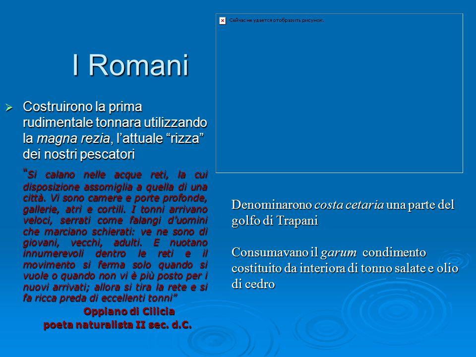 """I Romani I Romani  Costruirono la prima rudimentale tonnara utilizzando la magna rezia, l'attuale """"rizza"""" dei nostri pescatori """" Si calano nelle acqu"""