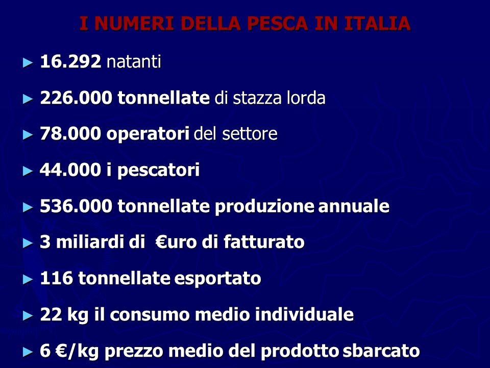 I NUMERI DELLA PESCA IN ITALIA ► 16.292 natanti ► 226.000 tonnellate di stazza lorda ► 78.000 operatori del settore ► 44.000 i pescatori ► 536.000 ton