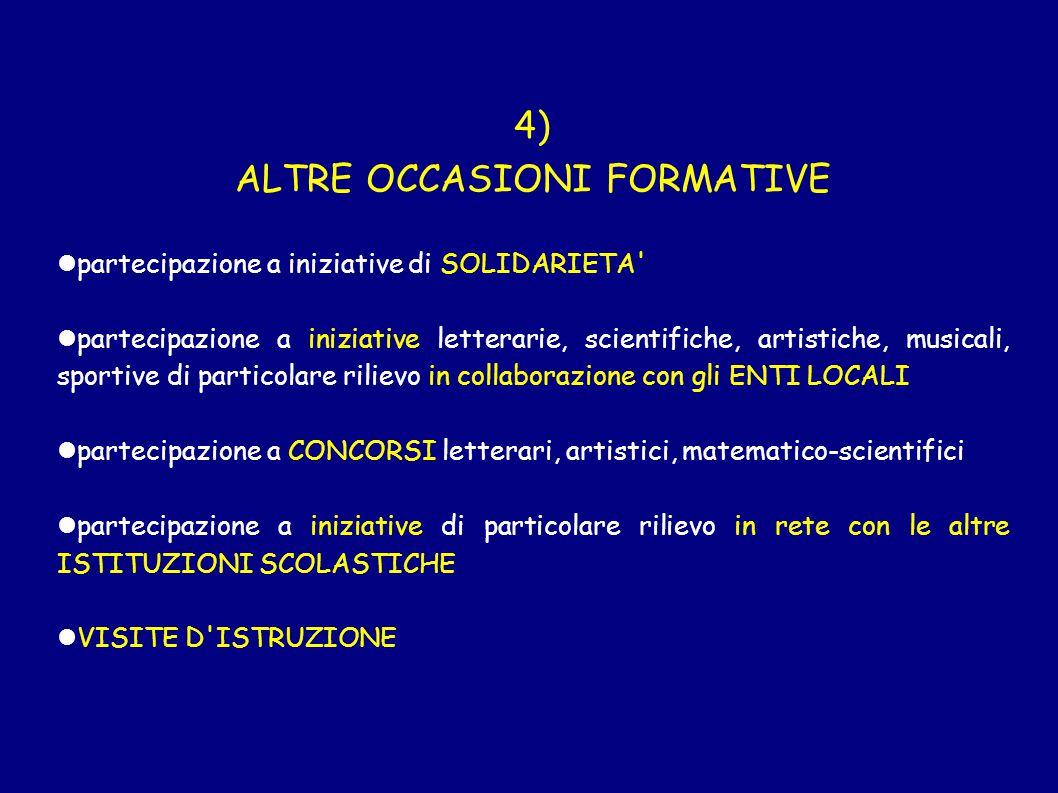 4) ALTRE OCCASIONI FORMATIVE partecipazione a iniziative di SOLIDARIETA' partecipazione a iniziative letterarie, scientifiche, artistiche, musicali, s