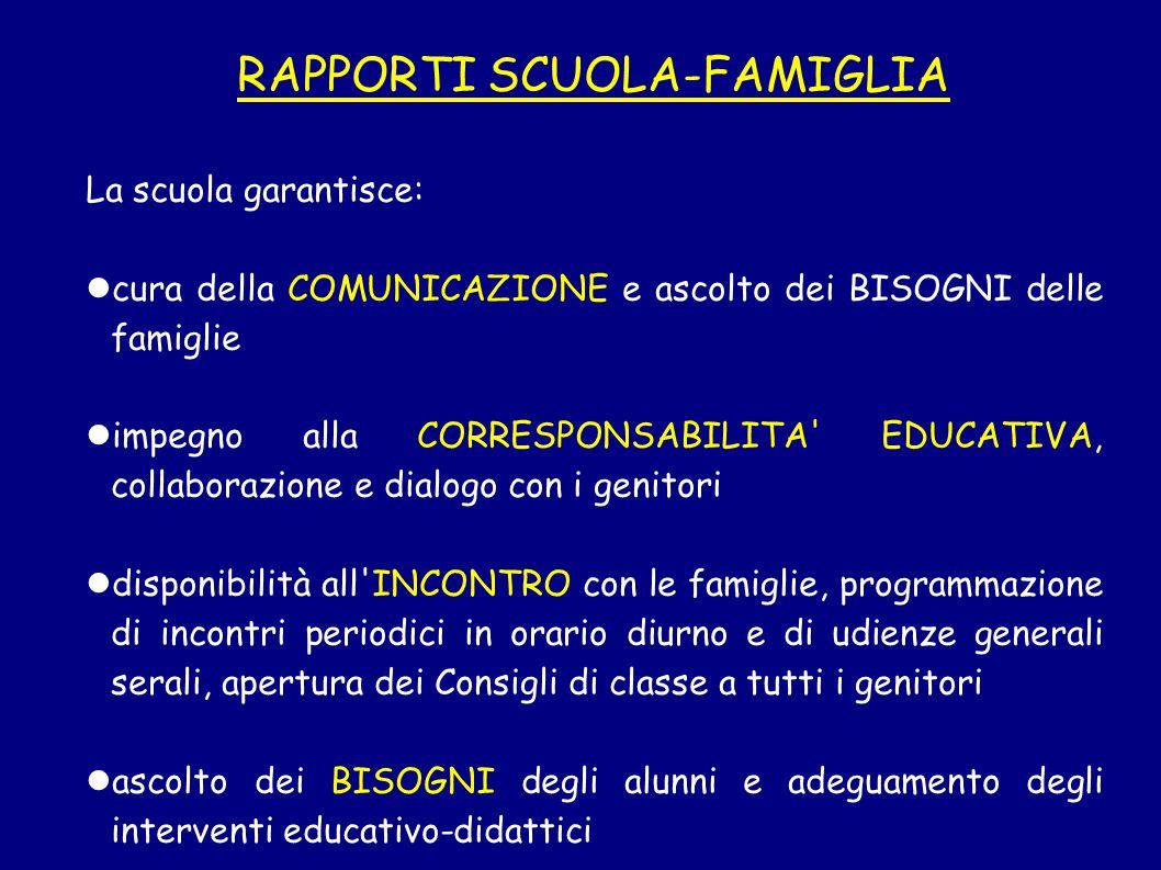 RAPPORTI SCUOLA-FAMIGLIA La scuola garantisce: cura della COMUNICAZIONE e ascolto dei BISOGNI delle famiglie impegno alla CORRESPONSABILITA' EDUCATIVA