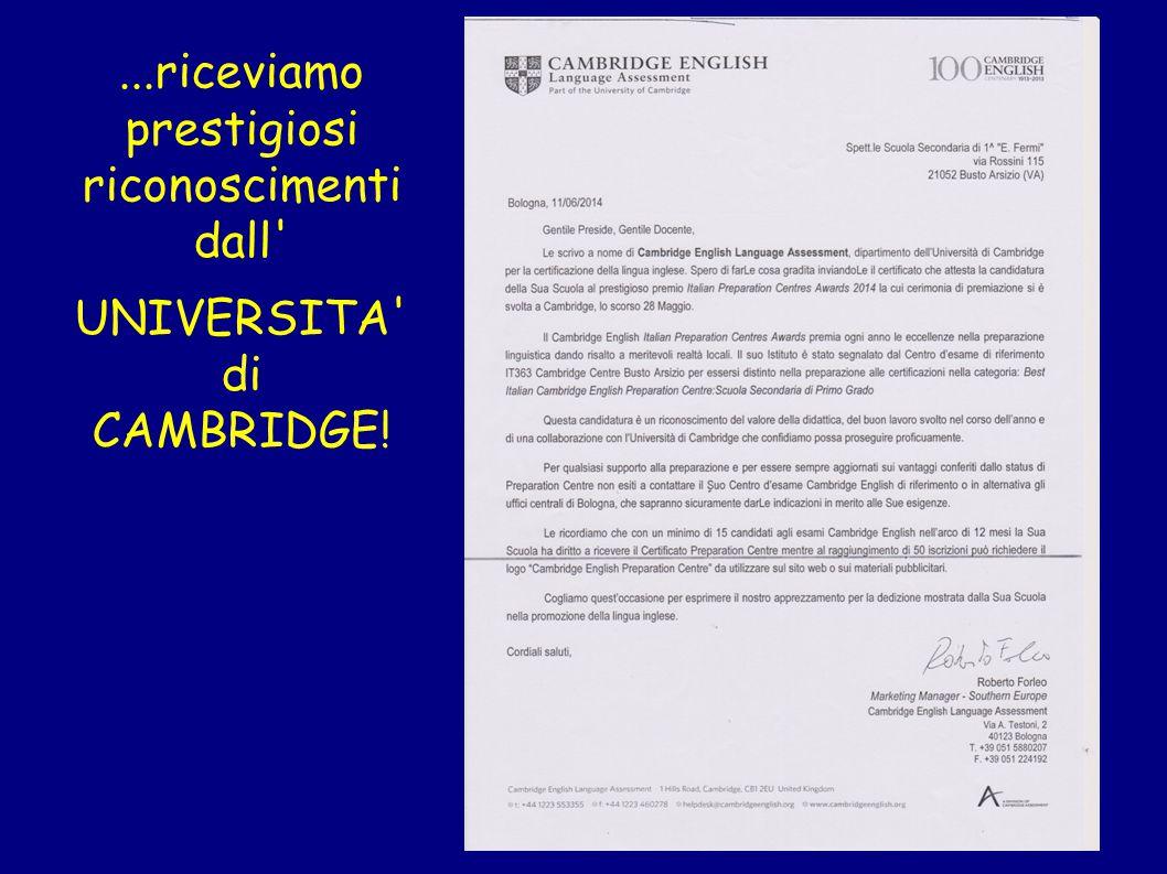 ...riceviamo prestigiosi riconoscimenti dall' UNIVERSITA' di CAMBRIDGE!