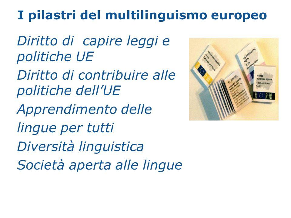 La piramide del multilinguismo Accesso alle istituzioni, diritti e doveri Regime interno pragmatico ed efficiente Interazione tra cittadini Padronanza della lingua materna