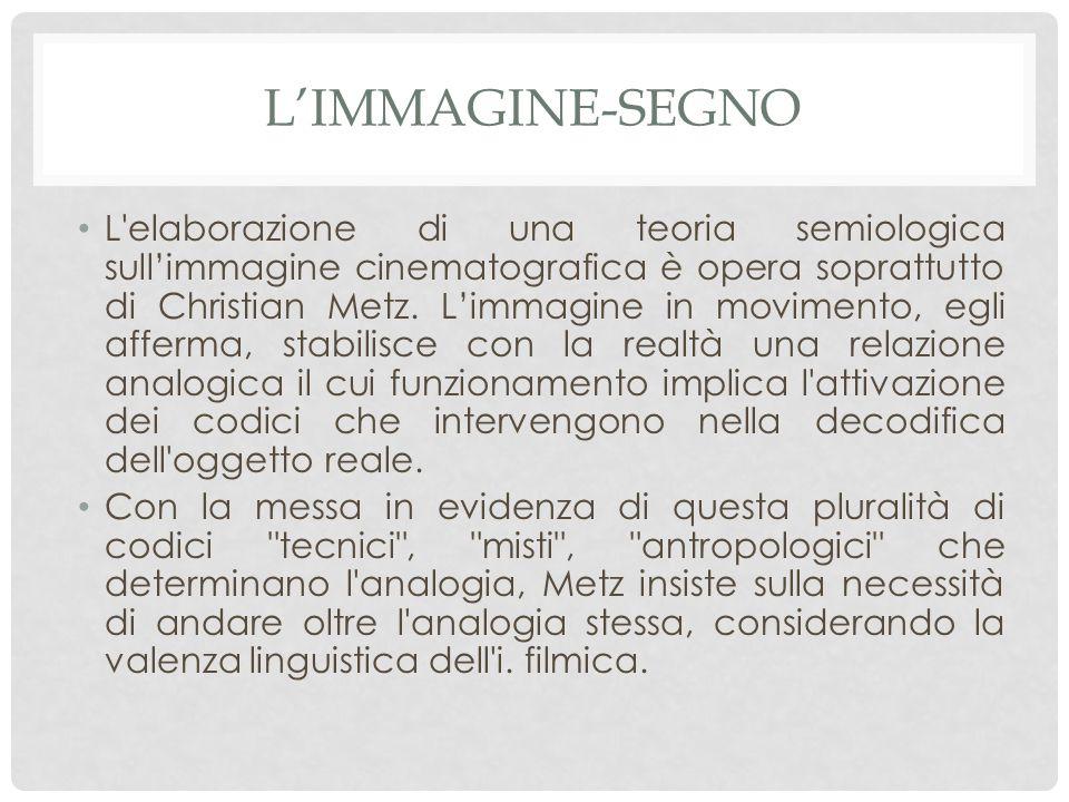 L'IMMAGINE-SEGNO L elaborazione di una teoria semiologica sull'immagine cinematografica è opera soprattutto di Christian Metz.